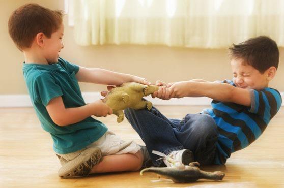 Мальчики дерутся за игрушки