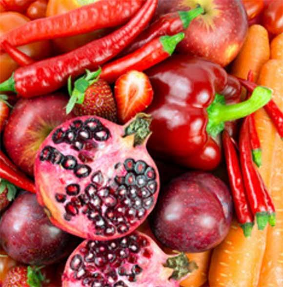 Фотография красных фрукт, овощей и ягод
