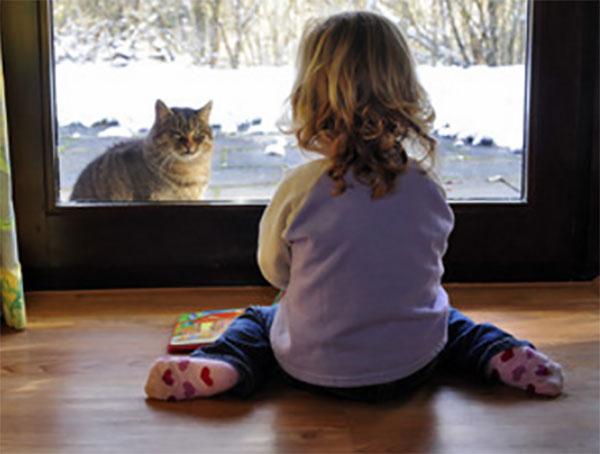 Ребенок и кот сидят по разные стороны двери: малыш в помещении, а кот на улице