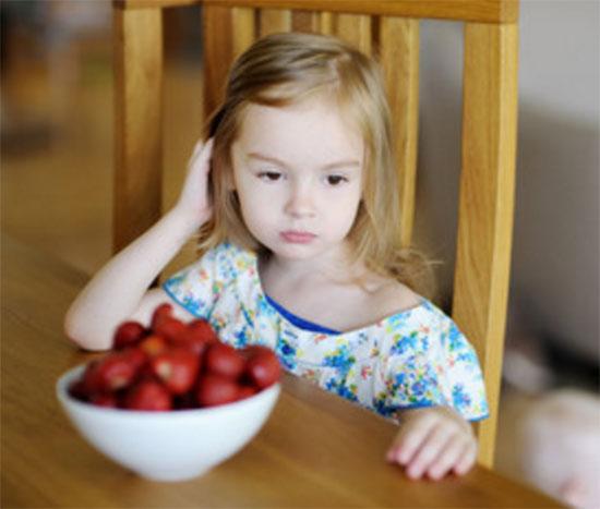Сидит грустная девочка, перед ней глубокая тарелка с клубникой.