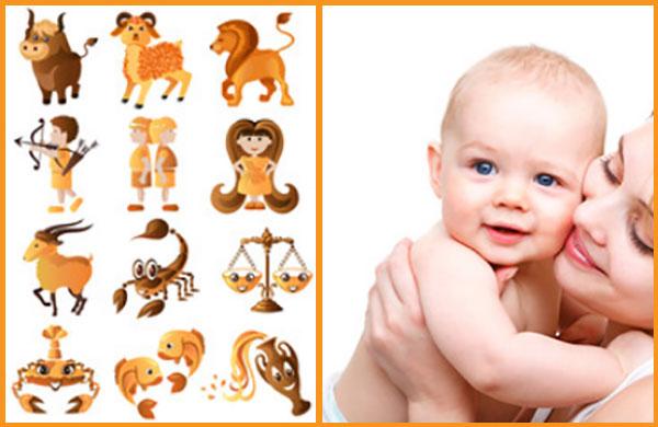 Изображения знаков зодиака и малыш на руках у мамы
