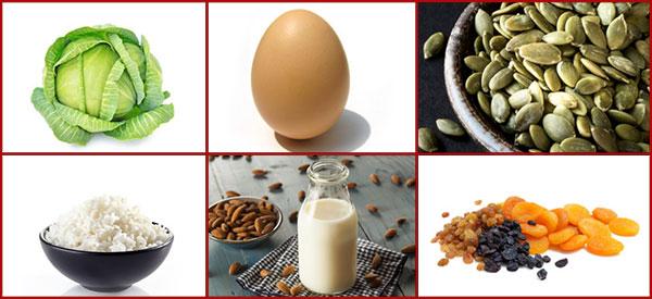 Альтернативные продукты: капуста, яйцо, тыквенные семечки, молоко, миндаль, рис, сухофрукты