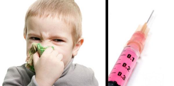Мальчик с платочком у носа. Рядом туберкулиновый шприц