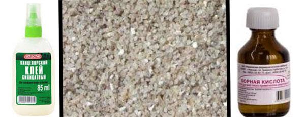 силикатный клей, кварцевый песок, борная кислота