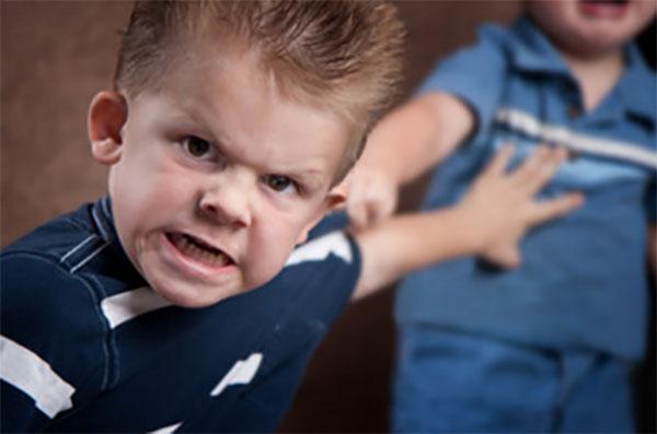 Злой ребенок толкает другого