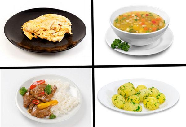 Паровой омлет, овощной суп, рис с мясом, отварной картофель с укропом