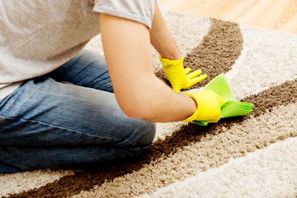 Женщина очищает ковер