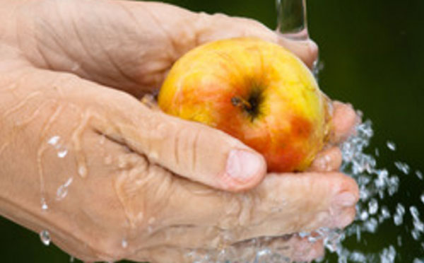 Моют яблоко