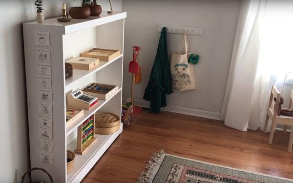 Часть комнаты, распределенной на зоны по методике Марии Монтессори