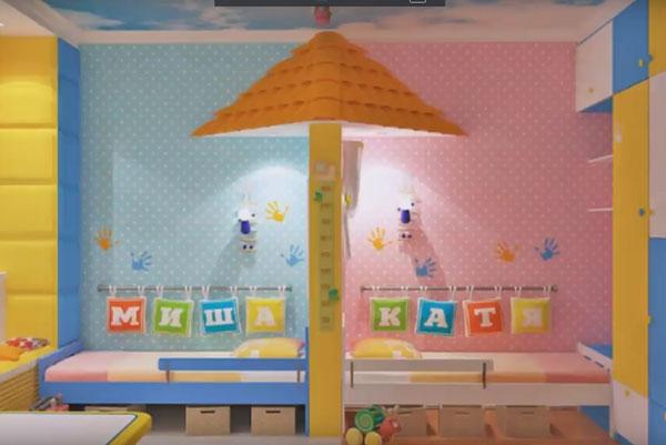Комната разделена на две зоны - для мальчика и для девочки